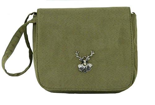 Trachtentasche Wildleder-Look - Dirndltasche mit Hirsch Applikation - Umhängetasche fürs Dirndl Olivgrün