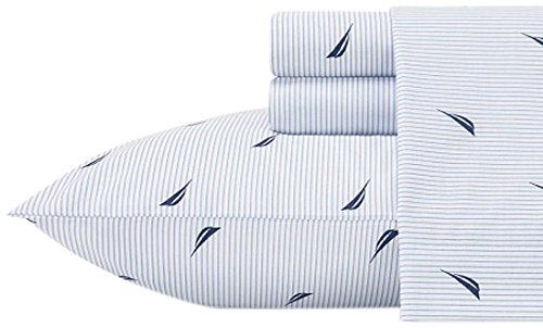 Nautica 883893509719 Boat Stripe Sheet Set, Twin X-Large, Blue
