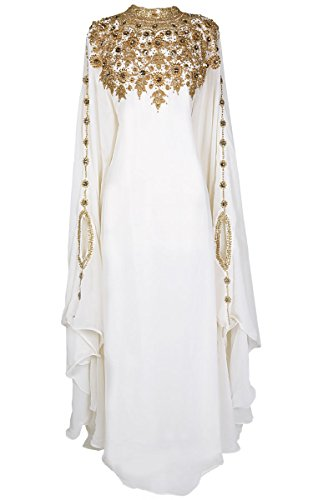 Covered Bliss Athena Kaftan For Women -Long Sleeve Maxi Dress, Gown Formal Lounge Wear (Ivory)