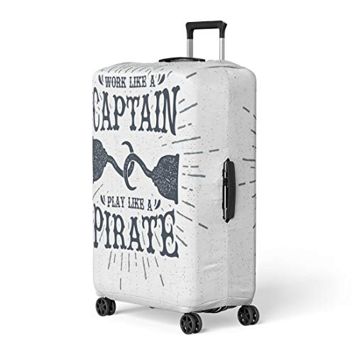 Pinbeam Luggage Cover Vintage Label Retro Badge Pirate Hook and Work Travel Suitcase Cover Protector Baggage Case Fits 26-28 -