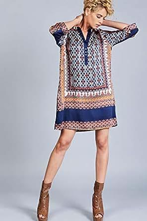 Beulah Style Turkey Satin Dress for Women - Blue