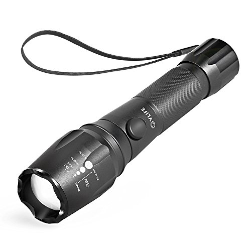 CVLIFE 800 Lumen CREE XML T6 LED Flashlight Rechargeable Torch 5 Mode with 18650 Battery 2 Chargers