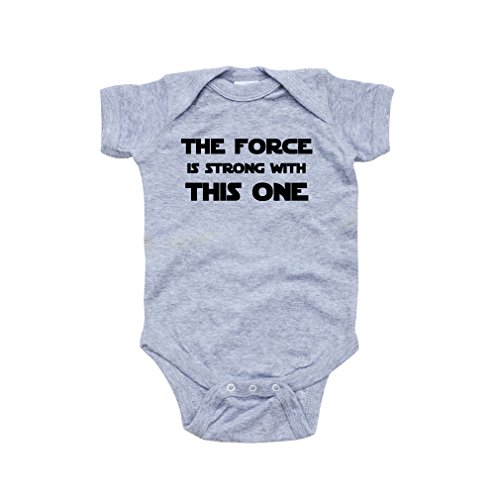 Cute Funny Nerd Geek Humor The Force is Strong With this One Soft Baby Bodysuit ,6 Months,Heather