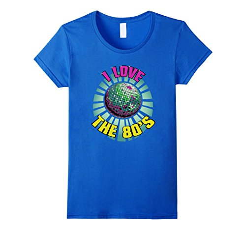 80 Themed Halloween Costume Ideas (Womens I Love The 80's - Eighties Decade Disco Ball Party T-Shirt XL Royal Blue)