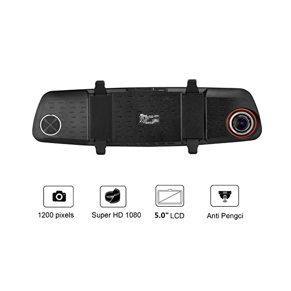 ULU SD550 Dash Cam FHD 50 Screen 1080P Front VGA Rear 290 Super Wide Angle Rearview Mirror Car Dashboard Camera Recorder With NTK96655 Chipset6G Glass Lens Night VisionG Sensor Loop Recording