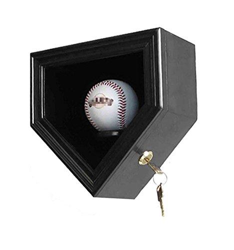 (Single Baseball Display Case Cabinet Holder Wall Rack Box w/UV Protection- Lockable (Black))