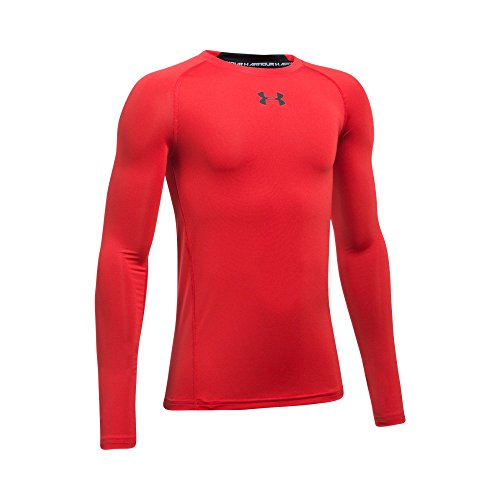 Under Armour Boys' HeatGear Armour Long Sleeve Fitted Shirt, Red/Black, Youth X-Large