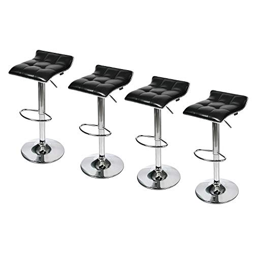 Prettyshop4246 Contemporary Set of 4 Leather Bar Stools Black Swivels 360 Degrees Spin Hydraulic Elegant Counter Chair Dining Kitchen Height Adjustable Sit Cafe Bisto Restaurant Home Office Bar