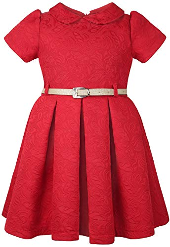 Lilax Little Girls' Flocked Occasion Dress with Shimmer Belt 2T Red]()