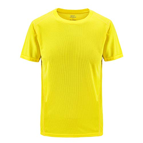 Mens Summer Casual Outdoor T-Shirt Plus Size Sport Fast-Dri Breathable Solid Tops Yellow]()