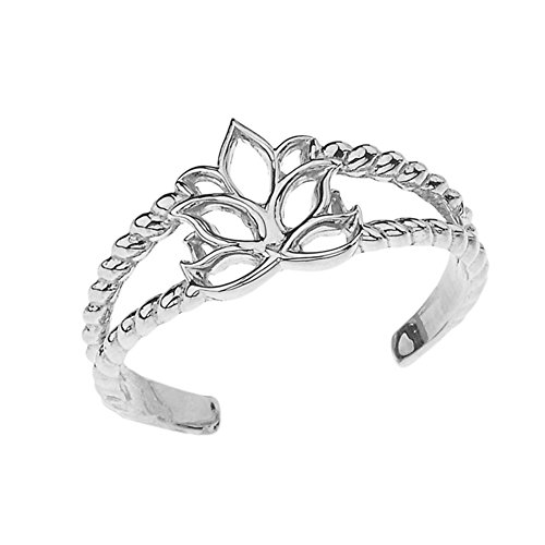 Fine Sterling Silver Lotus Flower Double Rope Toe (Sterling Silver Open Double Flower)
