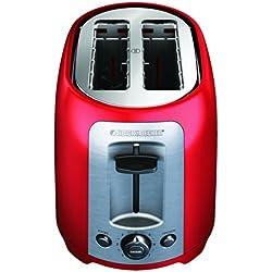 BLACK+DECKER TR1278RM 2-Slice Toaster, Bagel Toaster, Red