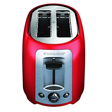 BLACK+DECKER TR1278RM 2-Slice Toaster, Red