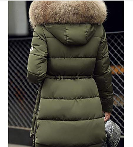 Green Thick with Jacket Stylish Down Hood Coat Faux Fur Army with Howme Women Hood UOxpRR
