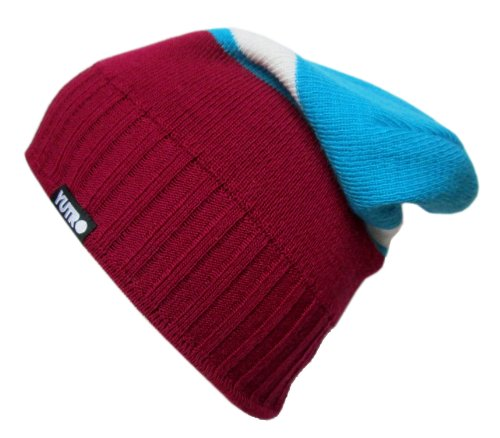 Purple Reversible Knit Beanie - YUTRO Fashion Wool Knitted Slouchy Style Reversible Ski Winter Beanie Hat PURPLE/BLUE