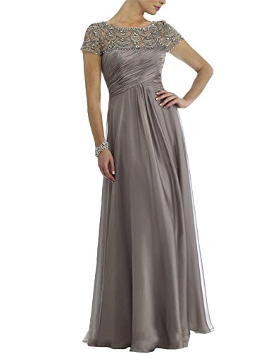 Newdeve Chiffon Mother of The Bride Dresses Long Pleated with Rhinestones Short Sleeve Grey