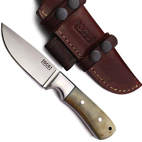 Knife Skinning Sheath Leather (GCS DEER SKINNER Custom Handmade D2-Tool-Steel 59HRC Micarta Small Hunting Skinning Knife with Leather Sheath 140)
