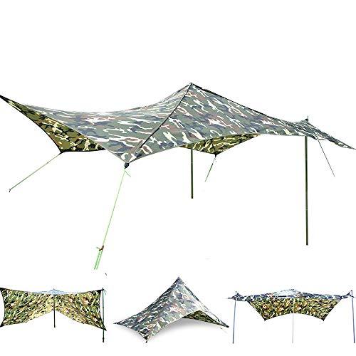 Geertop Camping Tarp Shelter Large Waterproof Tent Tarps Backpacking Ultralight 210T Ripstop Hammock Rain Fly Multifunction UV Proof Sun Shade Outdoor Survival Gear Portable Hunting Rain Shelters Camo