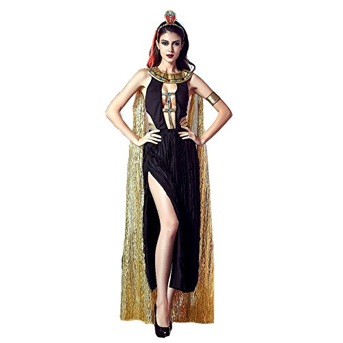 Sexy Egyptian Princess Costumes (Cleopatra Deep Plunge Dress Halloween Costume USA (S, Gold/Black))