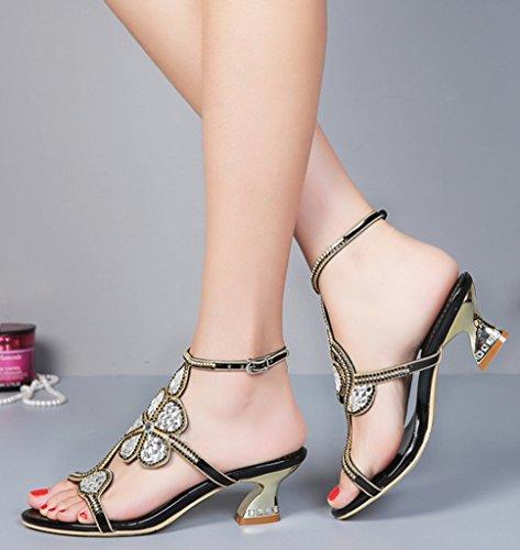 Crc Femmes Confort Fleurs Bout Ouvert Mi-talon Sparkle Strass Soirée Parti Mariage Mode Sandales Noir