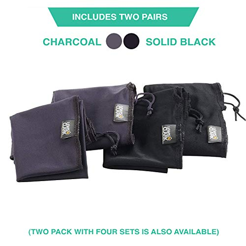 41XtbsE4X8L - Lewis N. Clark Drawstring Bag Nylon Shoe Covers for Travel, Women & Men, 2 pair, Charcoal/Black