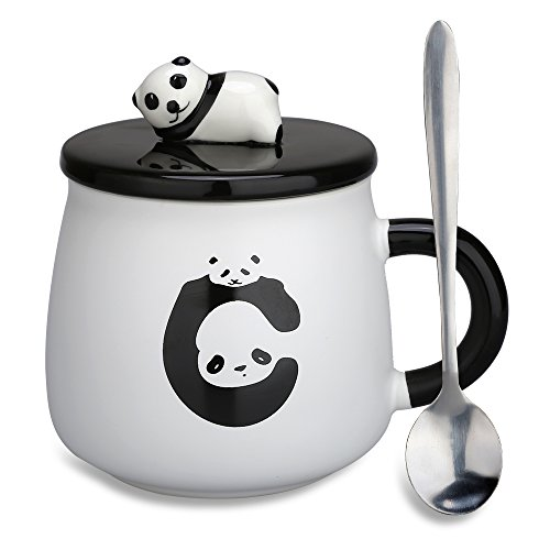 Lovely Cute 3D Panda Ceramic Coffee Mug Milk Tea Cup with Funny Lid and Stainless Steel Spoon-Perfect Novelty Gift for Mom, Girls, Girlfriend, Wife, Panda Lovers (Panda-1)