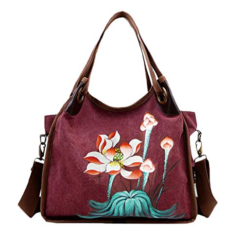 à Sac Sac Toile Main Fille Shopping Voyage Grand Messenger Fleur à LIUYL Capacité Beach Mesdames Purple Sac Sac Bag Mode Grande Bandoulière 0wEfqnRxp