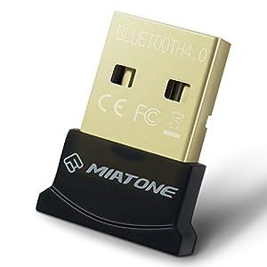 MIATONE Wireless Bluetooth CSR 4.0 USB Adapter Dongle for PC with Windows 10 8 7 Vista XP 32/64 Raspberry Pi Linux Black