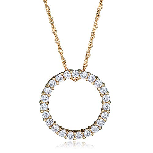 - 14K Yellow Gold Simulated Diamond CZ Open Circle Pendant Necklace with 18