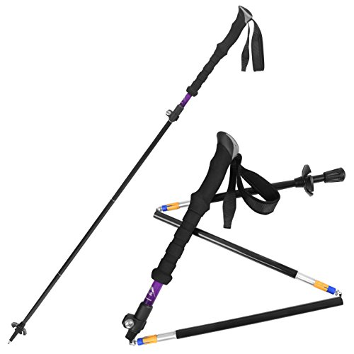 Bagail 2 PCS Bagail Folding Collapsible Trekking Poles Climbing Sticks with EVA Foam Handle, Ultralight Adjustable Alpenstocks, for Travel Hiking Climbing Backpacking Walking Purple