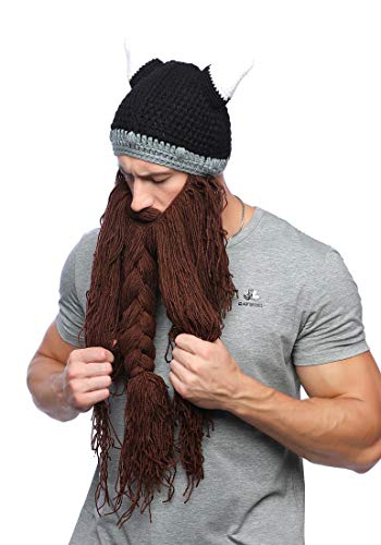 Xinqiao Mens Viking Barbarian Beard Beanie Funny Pillager Looter Horned Hats (Brown) ()