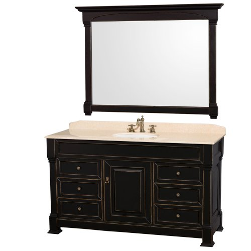 Wyndham Collection Andover 60 inch Single Bathroom Vanity in Antique Black with Ivory Marble Top with White Undermount Round Sink and 56 inch Mirror