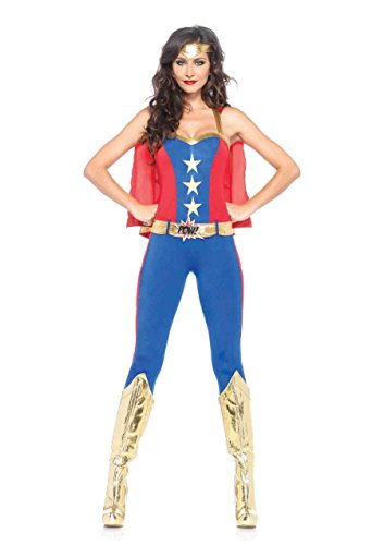 Leg Avenue Women's 3 Piece Comic Book Super Hero Costume, Blue/Red, Medium