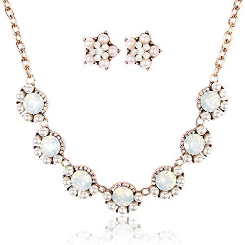 RIAH FASHION Sparkly Chunky Floral Statement Necklace - Flower, Spike Multi Acrylic Crystal Wedding Bridal Jewel Collar Bib & Drop Earrings Set (Pearl)