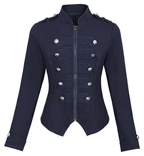 Kate Kasin Women's Steampunk Jacket Gothic Button Decorated Coat Holloween Costume KK464-4 Navy Blue Size M
