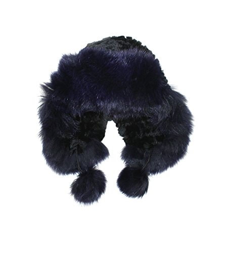 711540 New Knit Knitted Black Navy Rex Rabbit Fox Fur Trooper Hat Accessory by Bergama