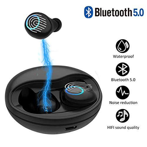 K10TWS Earbuds EDR True Wireless Stereo Headphones IPX5 Waterproof in-Ear Wireless Charging Case Built-in Mic Headset Premium Sound with Deep Bass for Running Sport