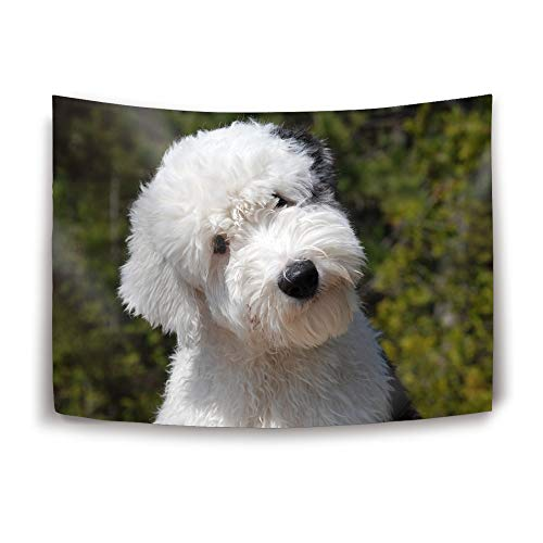 Mweet Old English Sheepdog Tapestry Nature Tapestry Wall Hanging for Bedroom Living Room Dorm