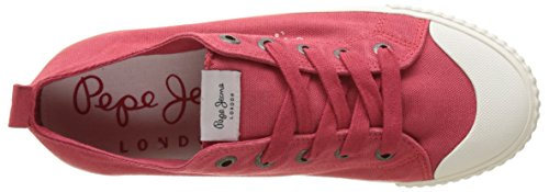 Pepe Jeans London Industry Low Basic, Zapatillas para Mujer Rojo (Red)