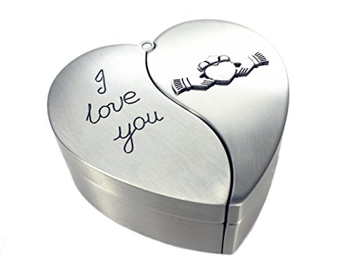 Claddagh Celtic Jewelry Box His & Her Irish Heart 'I Love You' Jewelry Box Made in ()