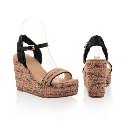 Charm Foot Hand Made Hemp Weave Womens Platform Wedge Heel Open Toe Sandals Black EnfXXHMKEr