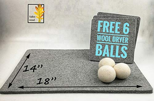Vallenwood Wool Pressing Mat for Quilter´s Plus Wool Dryer balls Set as a Gift, Great for Travel and Quilting. Portable Heat Press Iron Craft Pad for Travel or Classes - Accessories & Gifts for Quilti