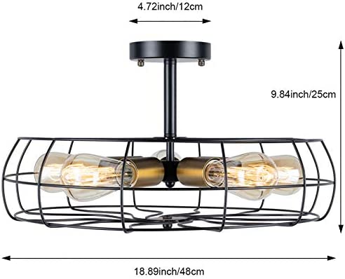Semi Flush Mount Ceiling Light Vintage Pendant Lights Industrial Chandelier Black Metal Cage Hanging Fixture