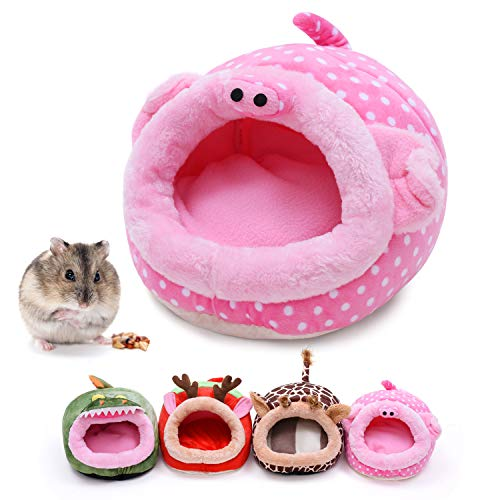 CROWNY Warm Small Pet Animals Bed -Guinea Pigs Bed,Hedgehog Winter Nest,Rat Chinchillas & Small pet Animals Bed/Cube/House, Habitat, Lightweight, Durable, Portable, Cushion (Pink Pig)