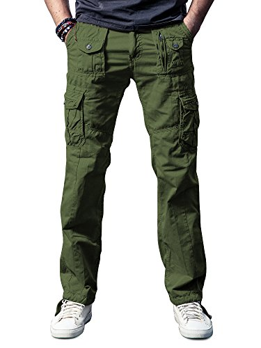 OCHENTA Men's Cotton Washed Multi Pockets Military Cargo Pant #3380 Army Green 44