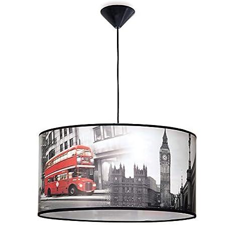Lámpara colgante juvenil con temática de Londres: Amazon.es ...