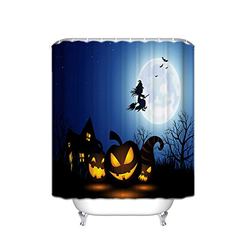 FANNEE Halloween Night Yellow Pumpkin Evil Smiley Witch Broom Castle Stripes Bathroom Curtains, Moldproof Modern Bathroom Curtains, Printed Waterproof Polyester Shower Curtain, 72