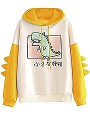 Sweatshirt met capuchon voor dames met trekkoord, nieuwigheid schattige cartoon kleine dinosaurus print hoodie splitsen lange mouwen letters tops casual hoody pullover trainingspak top voor tiener meisjes