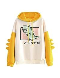 Oldlover-Women Casual Loose Color Block Long Sleeve Dinosaur Hoodies Pullover Tops Hooded Sweatshirt for Teen Girls
