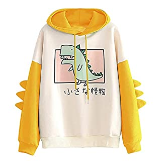Meikosks Women's Dinosaur Sweatshirt Cute Print Pullover Long Sleeve Splice Hoodies Tops